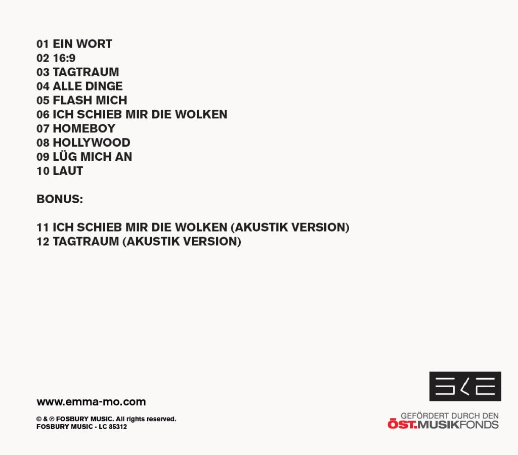 Tracklist Facetten CD